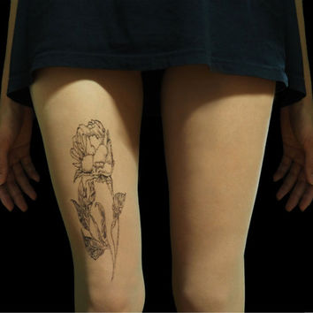 Rose tattoo tights, minimalist art, hand painted