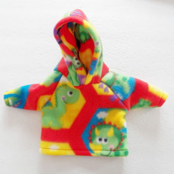 """Bitty Baby Doll Clothes Twin Girl or Baby Doll 15"""" American Girl Red Green Blue Yellow White Dinosaur Hoodie Hooded Sweatshirt Jacket Fleece"""