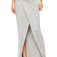 Gray Wrapped Front Slit Maxi Skirt