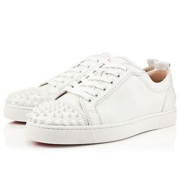 DCCKU62 Christian Louboutin Louis Junior Spikes Men's Women's Flat White Leather 11305733047