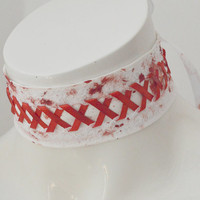 Blood maiden - white gothic collar choker necklace with artificial technical blood painted on it