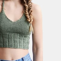 Knit Halter Top in Light Olive, Halter Crop Top, Knit Bralette Top, Pastel Green Top, Crop Yoga Top, Beach Tank Top, Hand Knit Summer Top