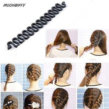 MOONBIFFY Women Lady French Hair Braiding Tool Braider Roller Hook With Magic Hair Twist Styling Bun Maker Hair Band Accessories