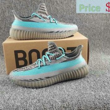 Late Hot Sell Adidas Boots Yeezy 350 V2 Superme X Iron Grey Bright Cyan shoe