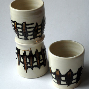 Espresso cups,3 yunomi,stoneware teacup,3 pottery cups,stoneware tumblers,clay wine tumblers,trio of cups,brown cream cups,3 pottery cups,