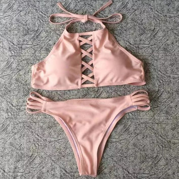 Pure color sexy chest hollow halter bottom side hollow two piece bikini (3 color) pink