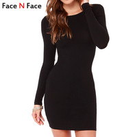 Face N Face Cute Women Fashion Little Black Dress New 2015 Autumn Sexy Casual Vestidos Desigual Long Sleeve Bandage Short Dress