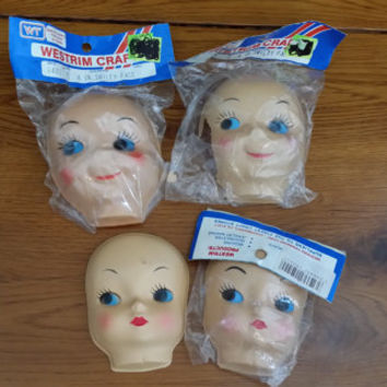 Vintage Westrim Craft Doll Faces Head Smiley Face New Old Stock Set of 4