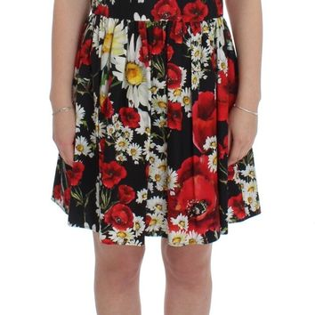 Dolce & Gabbana Multicolor Floral Cotton Shift Above Knee Dress