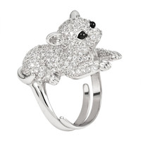 Zirconia Studded Chihuahua Sterling Silver Adjustable Ring