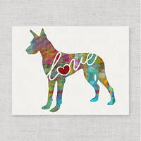 Great Dane Love - Modern & Whimsical 8x10 Dog Breed Watercolor-Style Wall Art Print / Poster on Fine Art Paper (Unframed)