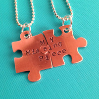 My Missing Piece- Hand Stamped Puzzle Charm Necklace Set- In Copper, Brass, and Aluminum