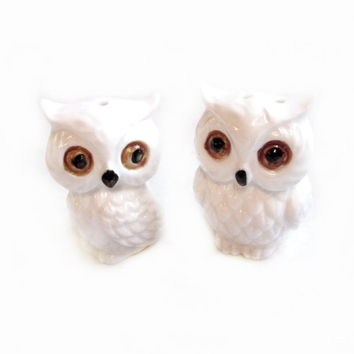 White Ceramic Owl Salt and Pepper Shakers by JAPAN