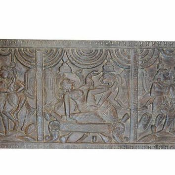 KAMASUTRA Vintage Headboard Hand Carved love for design Art, Wall hanging Rustic Decor Luxe FREE SHIP Valentines Gift