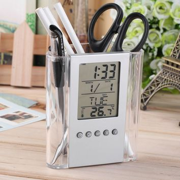 Free shipping NEW Digital Desk Pen Pencil Holder LCD Alarm Clock Thermometer&Calendar Display hot selling