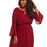 Bell Sleeve Chiffon Dress | Wet Seal+