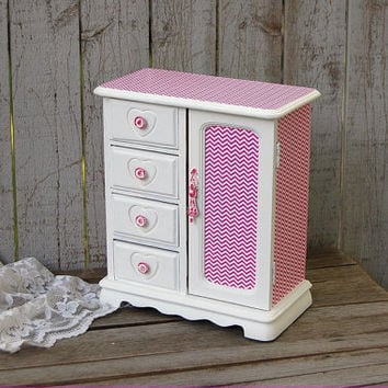 Jewelry Box, Jewelry Armoire, Shabby Chic, Hot Pink, White, Chevron, Decoupage, Upcycled, Hand Painted