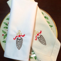 4 Ribbon Pine Cone Embroidered Cloth Dinner Napkins / embroidered napkins / Pinecone / Christmas napkins / mountains / woodland / rustic