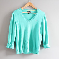 Tommy Hilfiger Sweater Teal Green Pima Cotton Sweater Pastel Pullover Slouchy Sweater V-neck Unisex Knit Minimalist Vintage 90s Size S - M