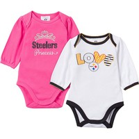 Pittsburgh Steelers 2-Pack Bodysuit Set - Baby Girl, Size: