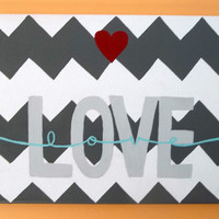 LOVE with heart Chevron Painted Canvas 9x12 Love Wall Decor