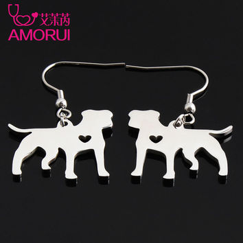 AMORUI Dog Earrings for Women/Men Jewelry Stainless Steel Pit Bull Pet Earring Gift Gold/Silver Color Earings Fashion Jewelry