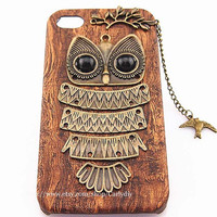 Handmade retro wood owl protection shell - iphone 4 4 s following the iphone 5 5 s cell phone case,