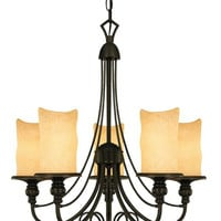 Five-Light Indoor Chandelier, Burnished Bronze Patina Finish with Burnt Scavo Glass