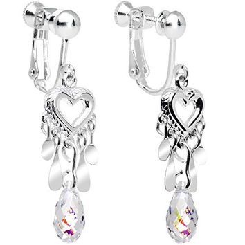 Body Candy Handcrafted Silver Plated Clear Heart Clip On Earrings Created with Swarovski Crystals