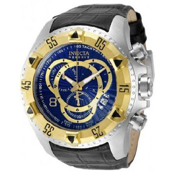 Invicta 11017 Men's Reserve Excursion Gold Tone Bezel Blue Textured Dial Leather Strap Chronograph Dive Watch