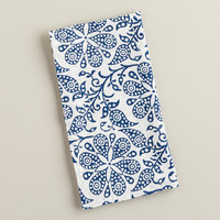 Indigo Floral Block Print Napkins, Set of 4 - World Market