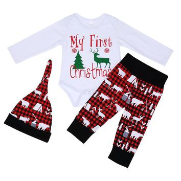 8e0c6e9648b1 Fashion My First Christmas Boy Girl Baby Clothes Set New Year s