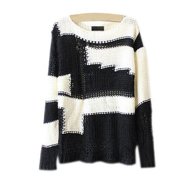 Sweater Korean Hollow Out Ripped Holes Pullover Round-neck Tops Needles [8115659841]