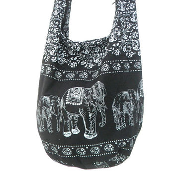 Shoulder Bag Cross Body Bag Handmade Bag Elephant Bag Hobo Crossbody Bag Hippie Boho bohemian bag Purse Gift /  Black white Color Sling bag