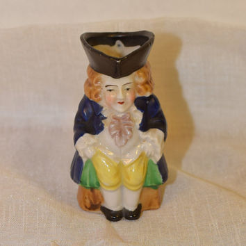 Japan Miniature Toby Character Pitcher Vintage Colonial Toby Toothpick Match Holder Mug Jug Made in Occupied Japan Colonial Man