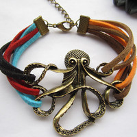 octopus bracelet---antique bronze octopus pendant octopus bracelet & colorful rope chain