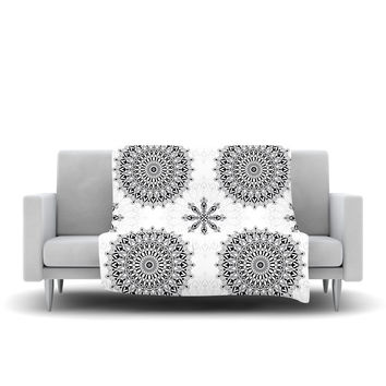 "Julia Grifol ""Black Mandala"" White Black Fleece Throw Blanket"