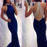 Custom Made High Neck Sleeveless Blue Mermaid Prom Dress, Blue Mermaid Formal Dress