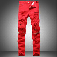 Men's Red, Orange Or Blue Denim Ripped Fashion Jeans