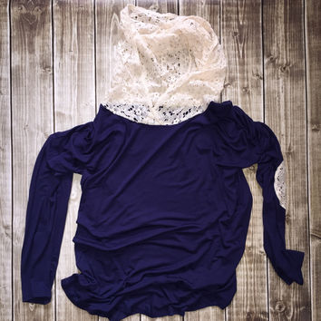 Hoodie w/ Lace Elbow Patch Navy