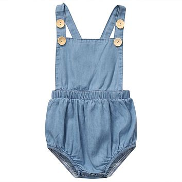2017 Newborn Baby Rompers Girls Summer Clothes Sweet Baby Girls Kids Sleeveless Romper Kids Girls Blue Jumpsuit Clothes Outfits