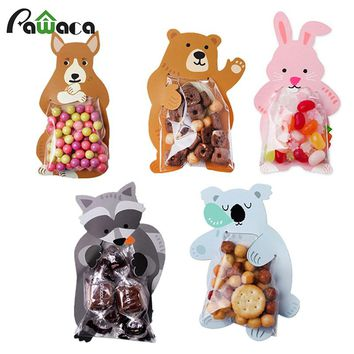 10pcs/lot Cute Animal Bear Rabbit Candy Cookie Bags Gift Bags Greeting Cards Baby Shower Birthday Party Packaging Bags Candy Box