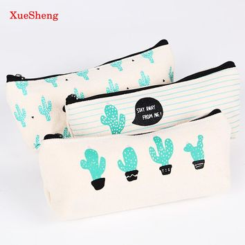 1PC Cactus Pencil Case Canvas School Supplies Kawaii Stationery School Cute Pencil Box Pencil Case