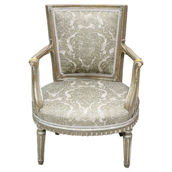 Louis XVI-Style Damask Chair