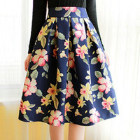 Red Floral Print High-Waisted Midi Skirt