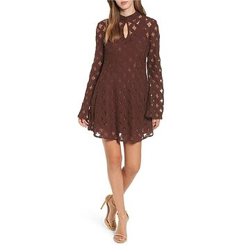 somedays lovin - crimson hearts lace dress - burnt red