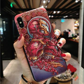 Trend Marvel Captain America Iron Man Embossed iPhone7plus Soft Shell