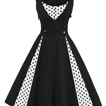 1731312acb Women s Polka Dot Retro Vintage Style Cocktail Party Swing Dress