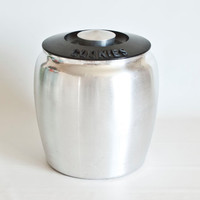 1950's Kromex Spun Aluminum Canister, Cookie Jar with Black Lid, Aluminum Kitchen Container