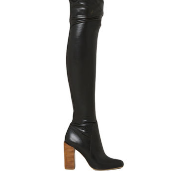 Jeffrey Campbell Perouze Thigh High Leather Boots - Black